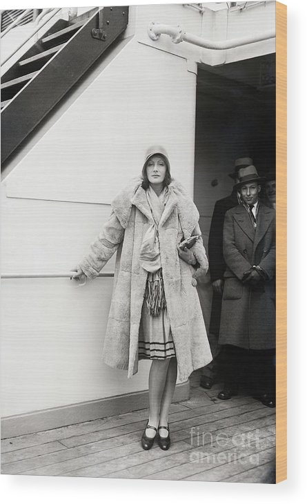 People Wood Print featuring the photograph Greta Garbo Sailing On Ship by Bettmann