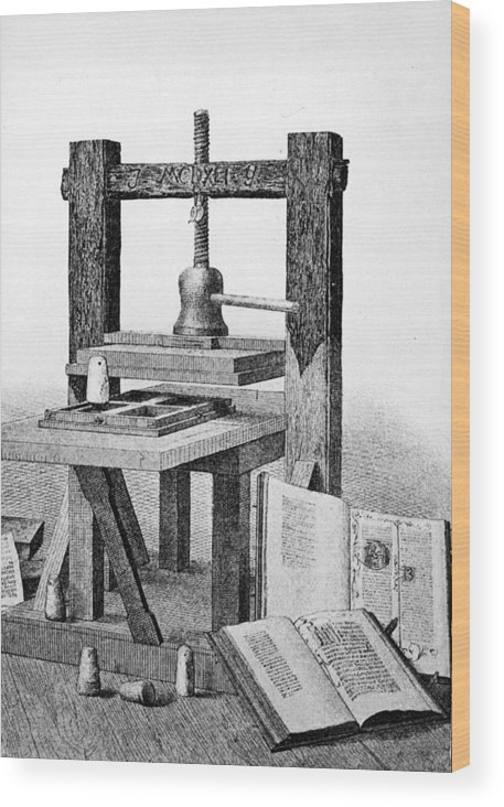 Engraving Wood Print featuring the photograph Gutenberg Printing Press by Authenticated News