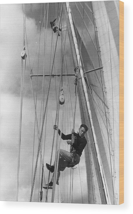 Hanging Wood Print featuring the photograph Hoisted Aloft by Bert Hardy