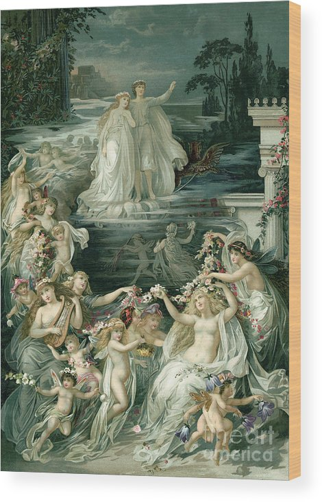 Crown Wood Print featuring the photograph Illustration Depicting Lysander, Hermia by Bettmann