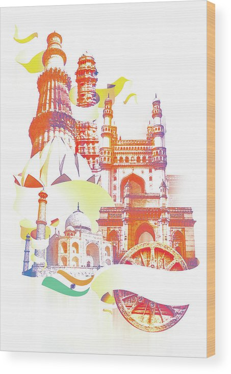 Architectural Feature Wood Print featuring the digital art Indian Monuments Collage by Anand Purohit