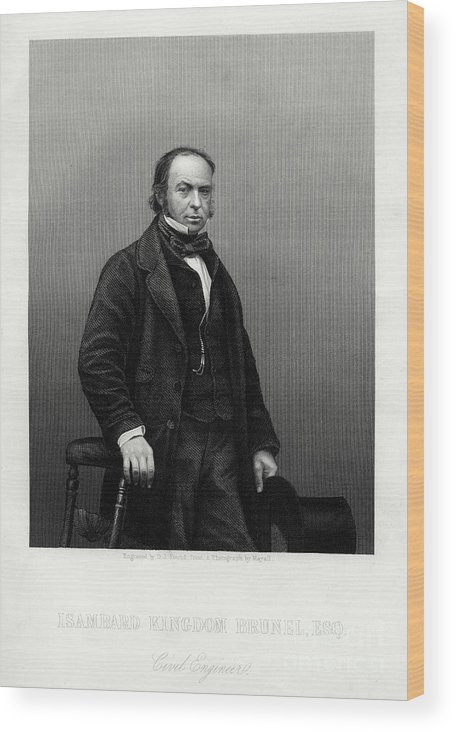 Engraving Wood Print featuring the drawing Isambard Kingdom Brunel, British by Print Collector