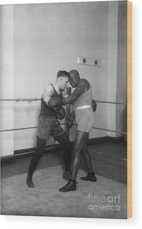 People Wood Print featuring the photograph Jack Johnson,floyd Patterson Sparring by Bettmann