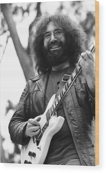 Music Wood Print featuring the photograph Jerry Garcia Performs Live by Richard Mccaffrey
