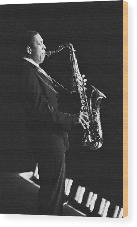 Concert Wood Print featuring the photograph John Coltrane In Paris, France In 1963 - by Herve Gloaguen