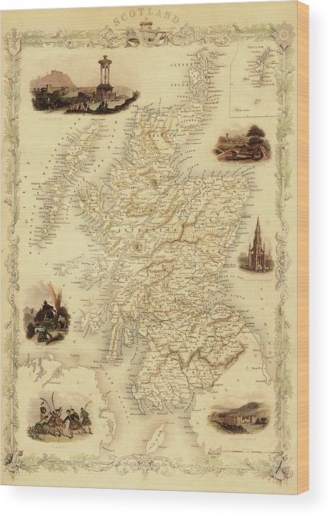 Journey Wood Print featuring the digital art Map Of Scotland From 1851 by Nicoolay