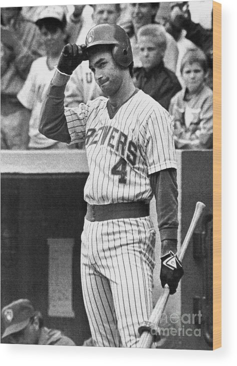 Following Wood Print featuring the photograph Milwaukee Brewers Paul Molitor Ends by Bettmann