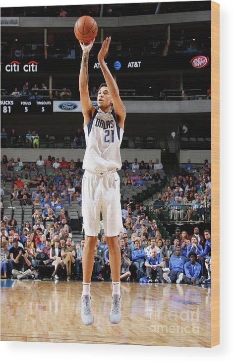 Nba Pro Basketball Wood Print featuring the photograph Milwaukee Bucks V Dallas Mavericks by Danny Bollinger