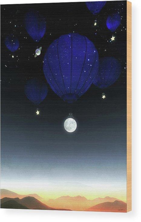 Moon Wood Print featuring the digital art Moonrise by Cynthia Decker
