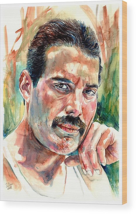 Freddie Mercury Wood Print featuring the painting No One But You - Freddie Mercury Portrait by Suzann Sines