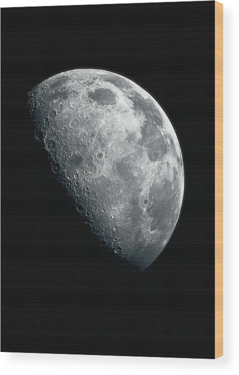 Clear Sky Wood Print featuring the photograph North Pole Of The Earths Moon by Stocktrek