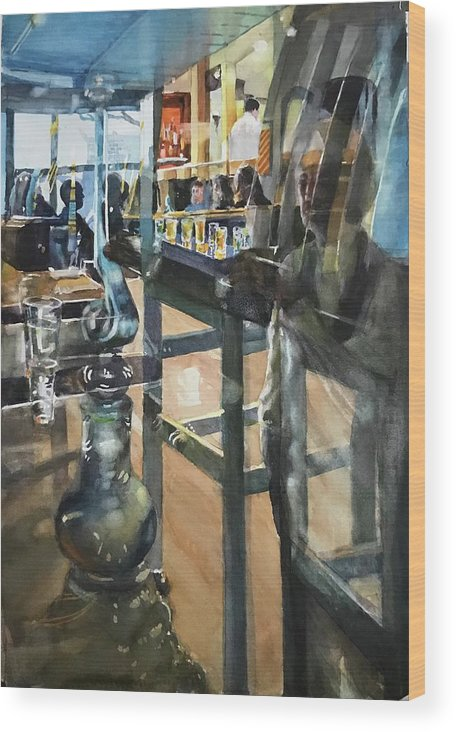 Indoor Scene Wood Print featuring the painting Patio Bar by Carolyn Epperly