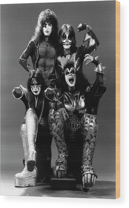 Heavy Metal Wood Print featuring the photograph Photo Of Ace Frehley And Peter Criss by Fin Costello