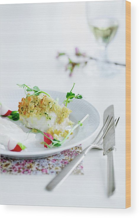 White Background Wood Print featuring the photograph Plate Of Crusted Fish by Line Klein