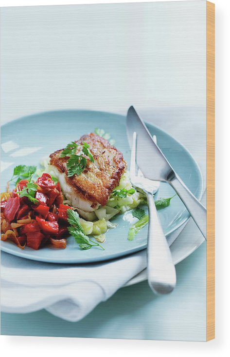 White Background Wood Print featuring the photograph Plate Of Fried Fish And Salad by Line Klein