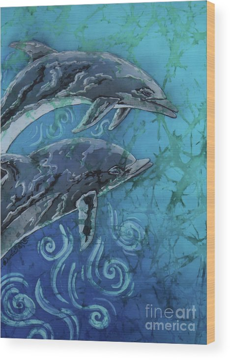 Porpoise Wood Print featuring the painting Porpoise Pair - Close Up by Sue Duda