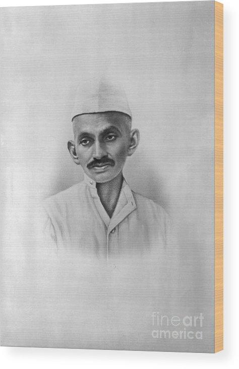 People Wood Print featuring the photograph Portrait Of Mahatma Gandhi by Bettmann