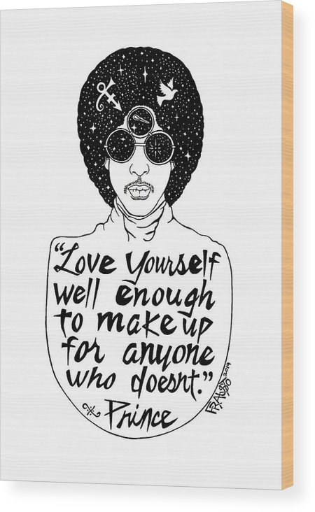 Pen And Ink Illustration Wood Print featuring the drawing Prince Drawing by Rick Frausto