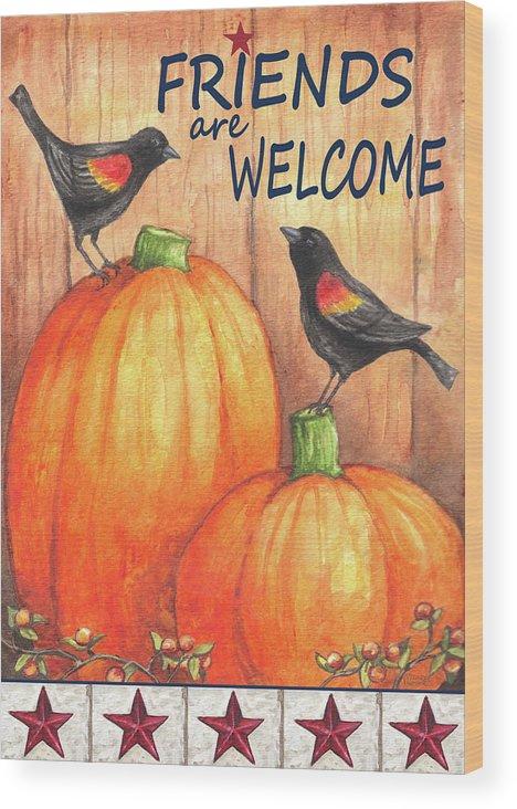 Pumpkin Blackbird Friends Welcome Wood Print featuring the painting Pumpkin Blackbird Friends Welcome by Melinda Hipsher