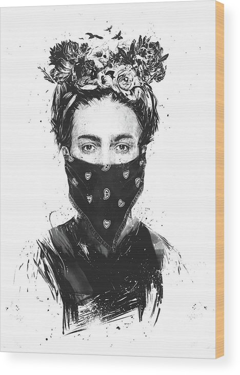 Girl Wood Print featuring the drawing Rebel girl by Balazs Solti