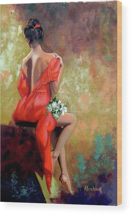 Women Wood Print featuring the painting Red Lady 2 by Jose Manuel Abraham