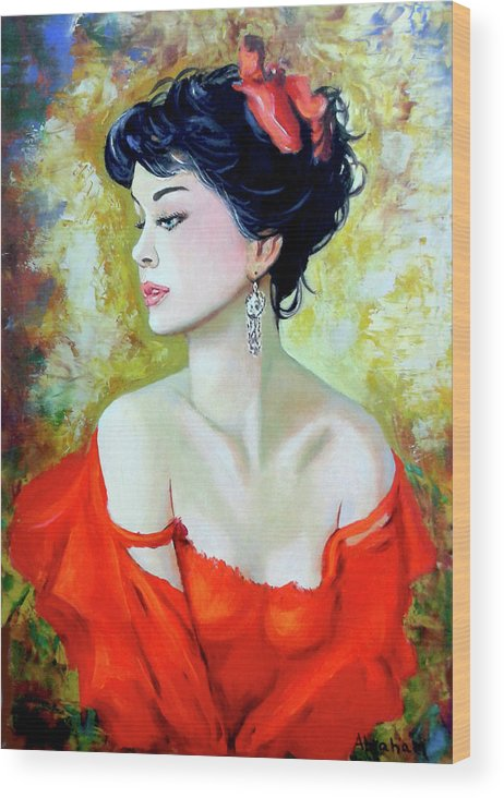 Lady Wood Print featuring the painting Red Lady by Jose Manuel Abraham