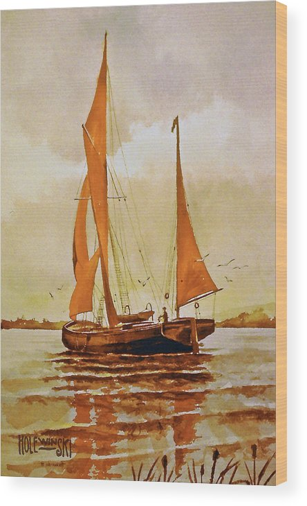 Fishing Boat Wood Print featuring the painting Red Sails by Robert Holewinski