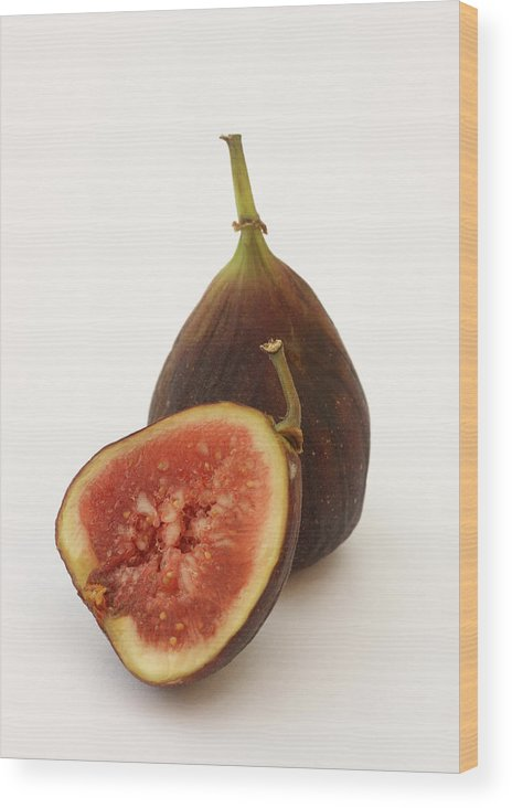 White Background Wood Print featuring the photograph Ripe, Fresh Figs On White Background by Rosemary Calvert