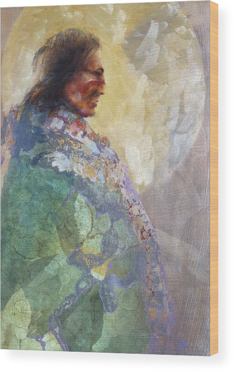Indian Chief In Green Wood Print featuring the painting Robe Of Green by Denton Lund
