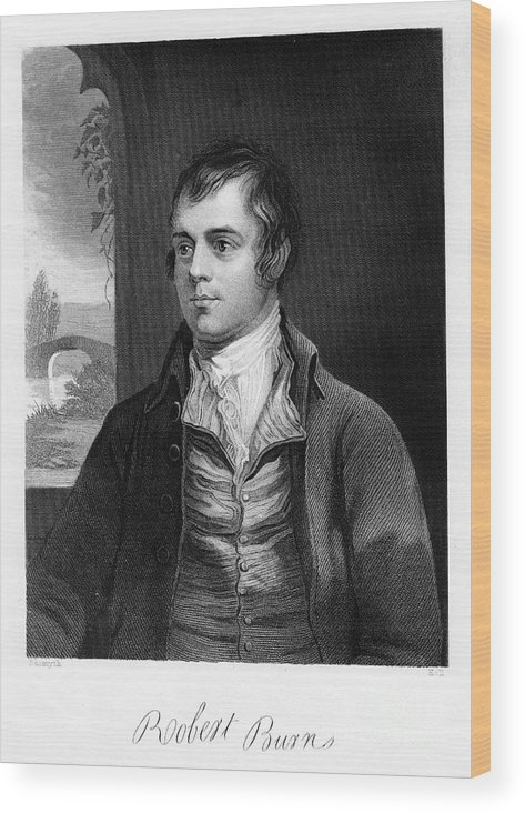 Poetry Wood Print featuring the drawing Robert Burns, Scottish Poet, Late 18th by Print Collector