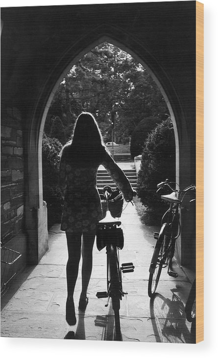 Arch Wood Print featuring the photograph Silhouette Of College Co-ed Walking Her by Alfred Eisenstaedt
