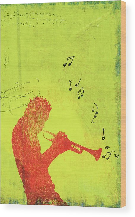 One Man Only Wood Print featuring the digital art Silhouette Of Trumpet Player by Darren Hopes