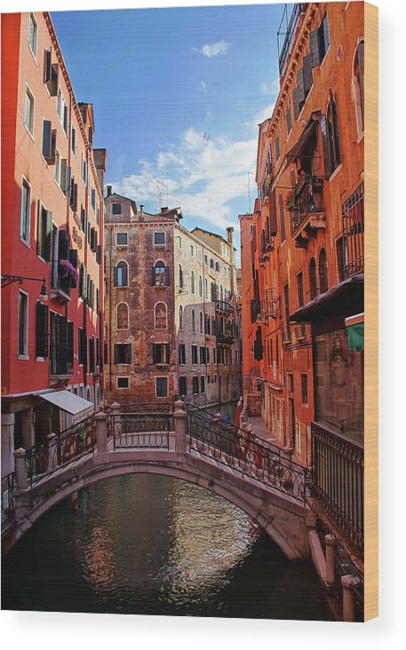 Arch Wood Print featuring the photograph Small Canals In Venice Italy by Totororo