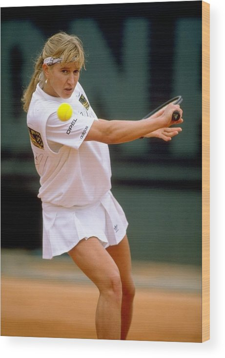 Tennis Wood Print featuring the photograph Steffi Graf by Simon Bruty
