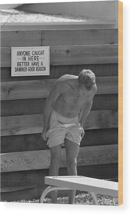 Timeincown Wood Print featuring the photograph Steve Mcqueen Undresses Outdoors by John Dominis