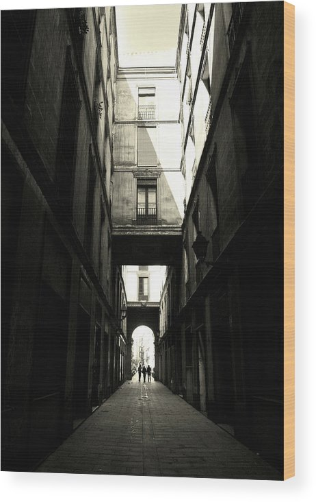 Arch Wood Print featuring the photograph Street In Barcelona by Maria Fernandez