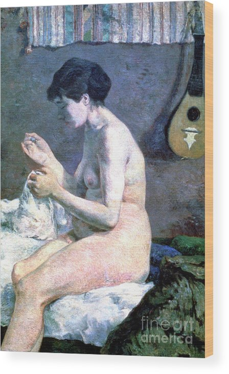 Paul Gauguin Wood Print featuring the drawing Study Of A Nude, 1880. Artist Paul by Print Collector