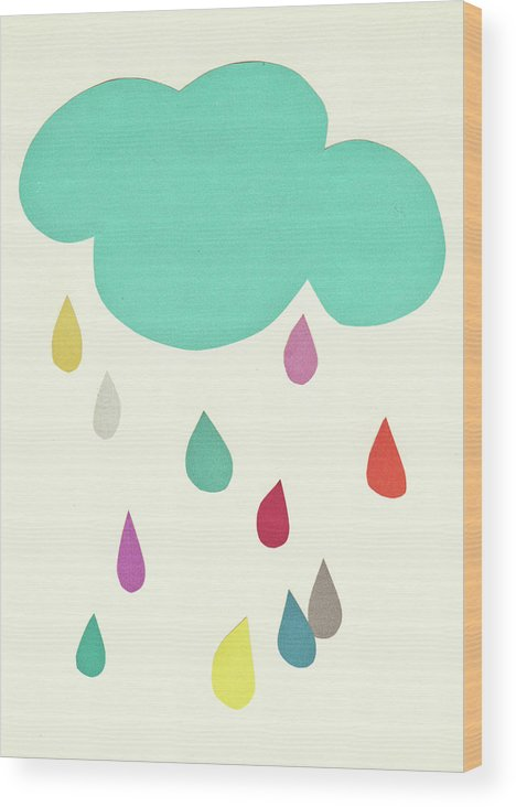 Clouds Wood Print featuring the mixed media Sunshine and Showers by Cassia Beck