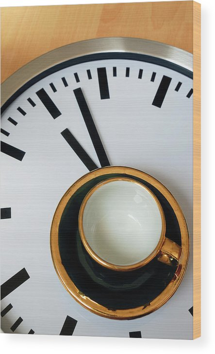 Coffee Wood Print featuring the photograph Teacup On A Clock by Eversofine