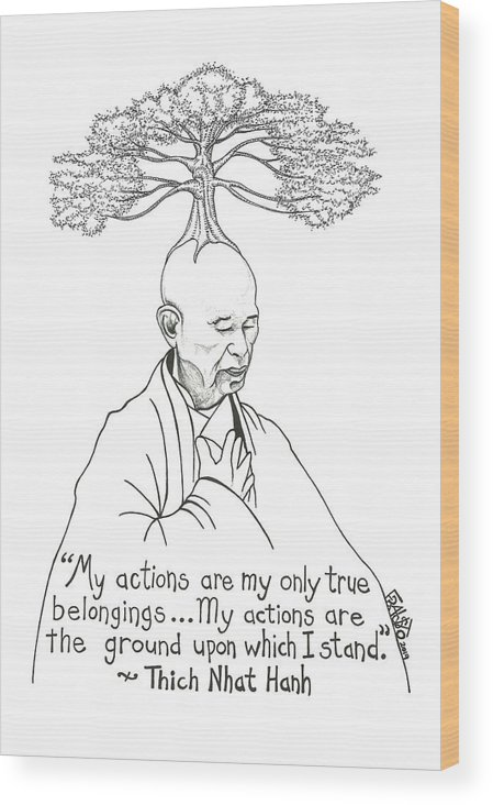 Pen And Ink Illustration Wood Print featuring the drawing Thich Nhat Hanh Drawing by Rick Frausto