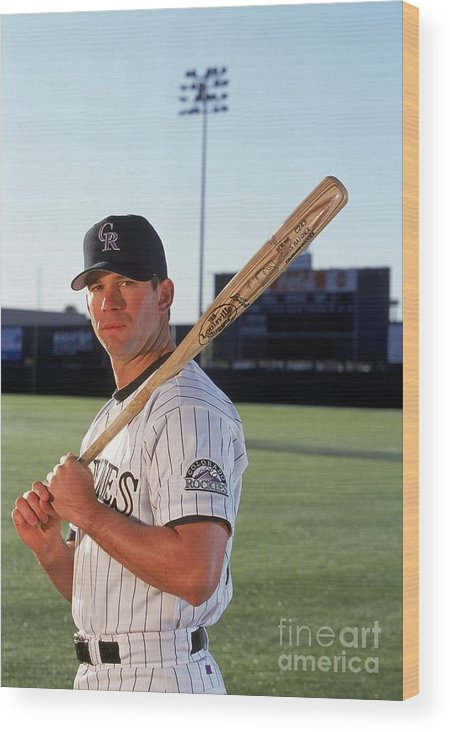 Media Day Wood Print featuring the photograph Todd Helton 17 by Brian Bahr