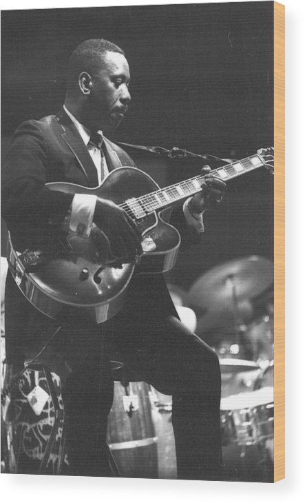 Guitarist Wood Print featuring the photograph Wes Montgomery Performing by Tom Copi