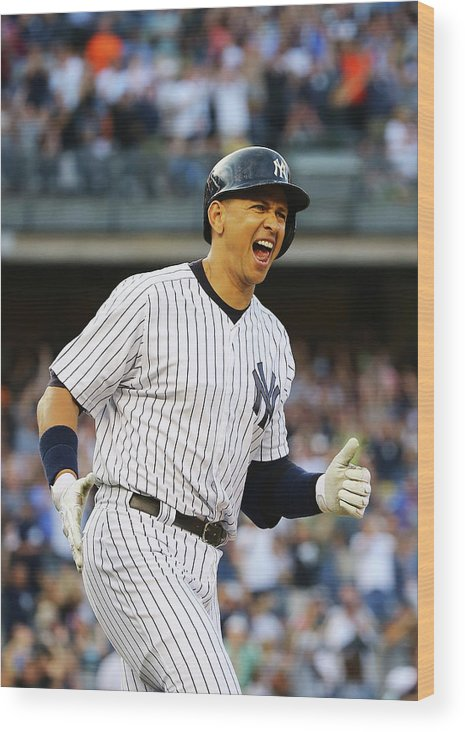 Three Quarter Length Wood Print featuring the photograph Alex Rodriguez by Al Bello