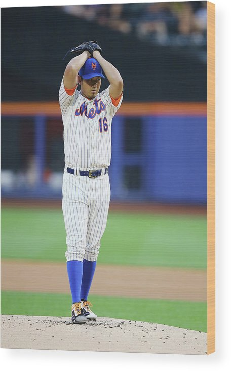 American League Baseball Wood Print featuring the photograph Daisuke Matsuzaka by Al Bello