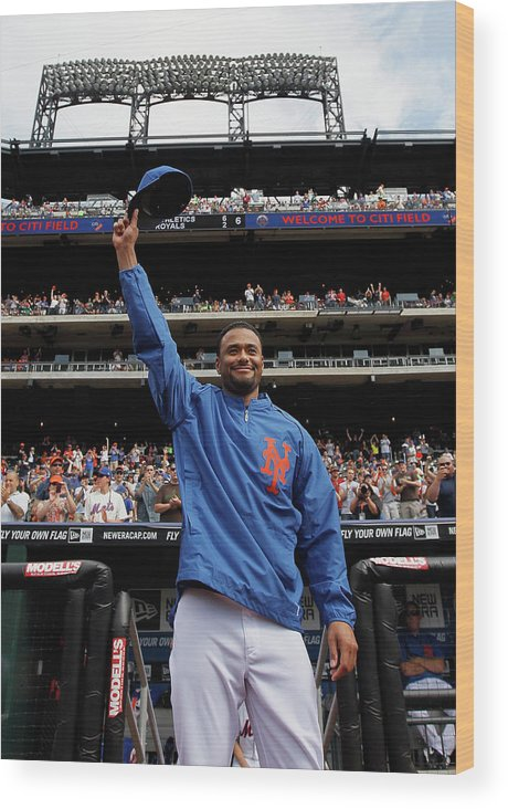 Crowd Wood Print featuring the photograph Johan Santana by Mike Stobe