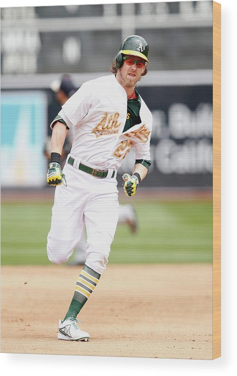 People Wood Print featuring the photograph Josh Reddick by Ezra Shaw