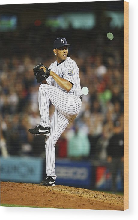 Ninth Inning Wood Print featuring the photograph Mariano Rivera by Al Bello