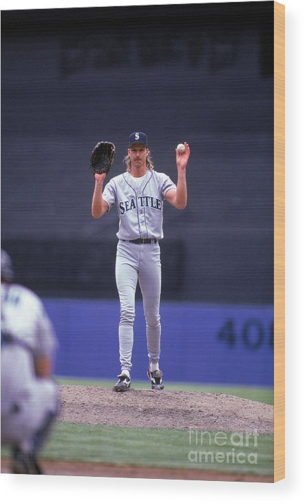 American League Baseball Wood Print featuring the photograph Randy Johnson by Rich Pilling