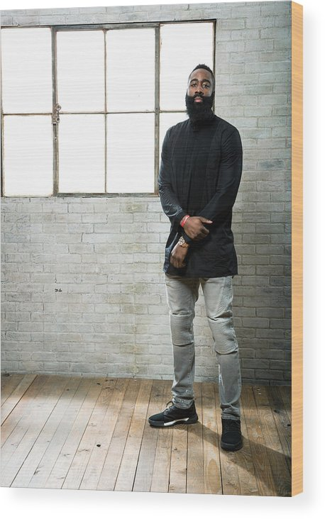 Nba Pro Basketball Wood Print featuring the photograph James Harden by Nathaniel S. Butler
