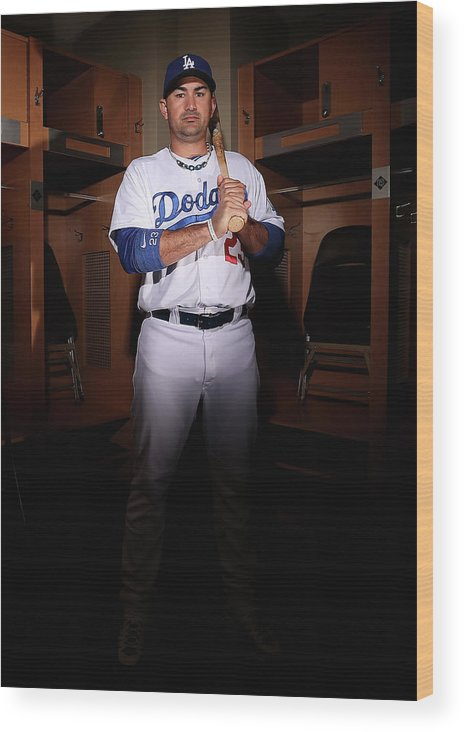 Media Day Wood Print featuring the photograph Adrian Gonzalez by Christian Petersen